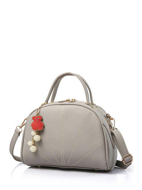 buy Pendant Stitching Candy Color Tote Bag - GRAY  Mobile