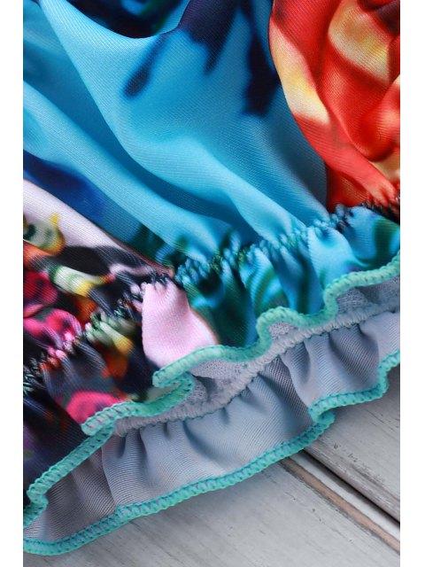 women Tiny Floral Print Halter Bikini Set - BLUE S Mobile