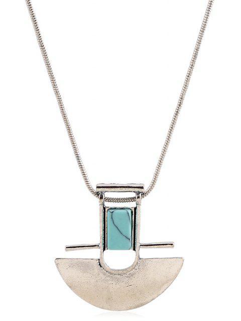 unique Arch Shape Pendant Necklace - SILVER  Mobile
