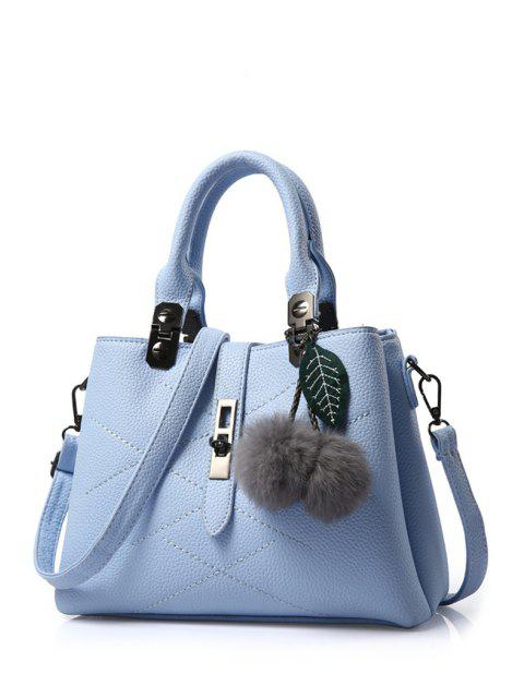 ladies Pompon Checked PU Leather Tote Bag -   Mobile