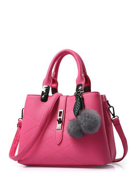 women's Pompon Checked PU Leather Tote Bag -   Mobile