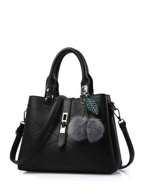 womens Pompon Checked PU Leather Tote Bag -   Mobile