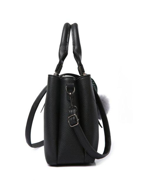 affordable Pompon Checked PU Leather Tote Bag -   Mobile