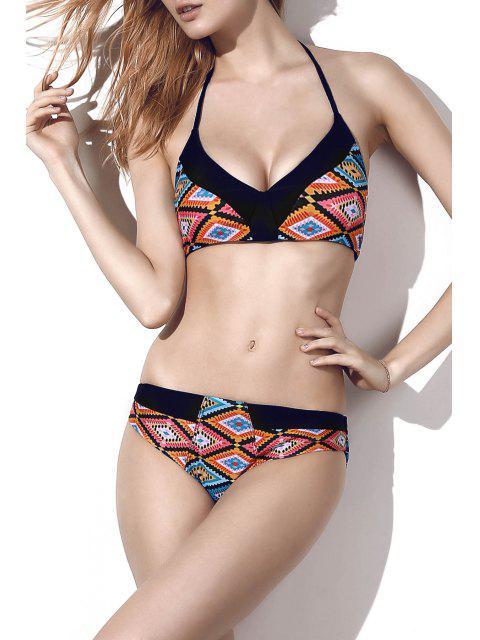 trendy Printed Halter Alluring Bikini Set - COLORMIX L Mobile