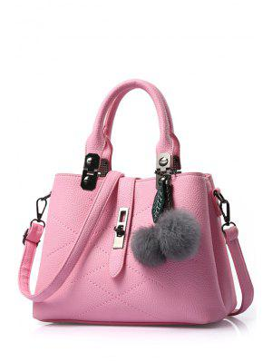 Pompon Checked PU Leather Tote Bag
