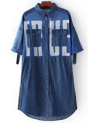 Lettre Imprimer Shirt Collar Manches 3/4 Mesh Robe Chemise - Bleu M