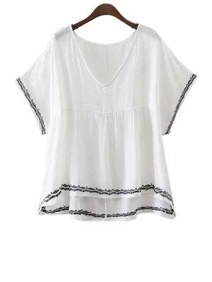 Embroidery V-Neck Batwing Sleeve T-Shirt - White L