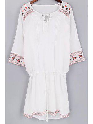 Tank Top Cami Et Drawstring Broderie Robe Twinset - Blanc L