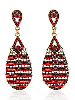 Beaded Water Drop Pendant Earrings - Red