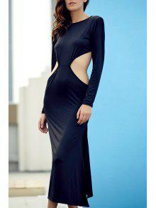 Backless Round Collar Long Sleeve Side Slit Maxi Dress - Black L