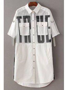Letter Print Shirt Collar 3/4 Sleeve Mesh Shirt Dress - White L