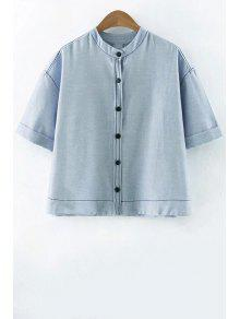 Single-breasted Stand Shirt Ras Du Cou Manches Demi - Bleu Clair L