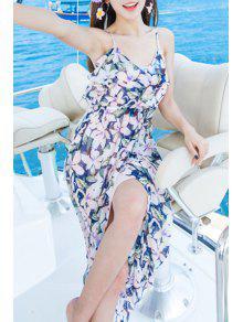 Bohemian Floral Print Spaghetti Straps Sleeveless Dress - Pink L