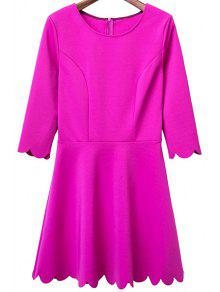 Solid Color Round Neck 3/4 Sleeve A Line Dress - Rose S
