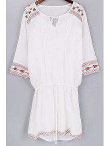 Cami Tank Top And Drawstring Embroidery Dress Twinset - White L