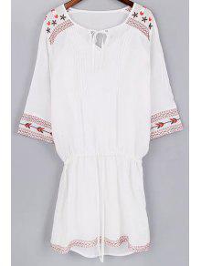 Conjunto De Blusa De Tirante Fino Y Vestido Con Bordado Con Cordón - Blanco S