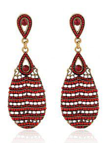 Beaded Water Drop Pendant Earrings - Red