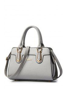Metal Letter Solid Colour Tote Bag - Gray