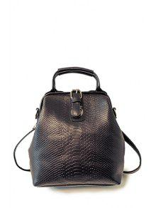 Embossing Buckle Solid Color Satchel - Black