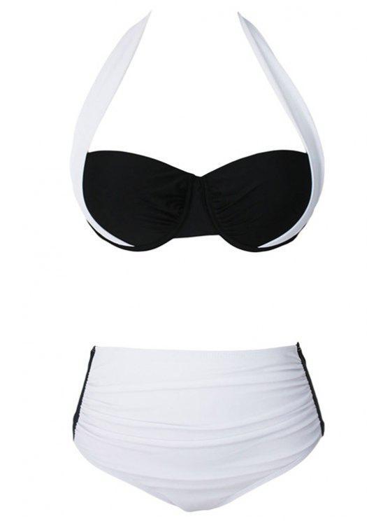 outfit Drawstring Color Block Halter Bikini Set - WHITE L