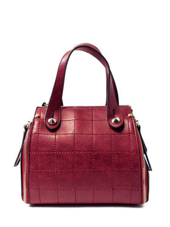 La bolsa de asas rejilla de costura de cuero de PU - Vino Rojo