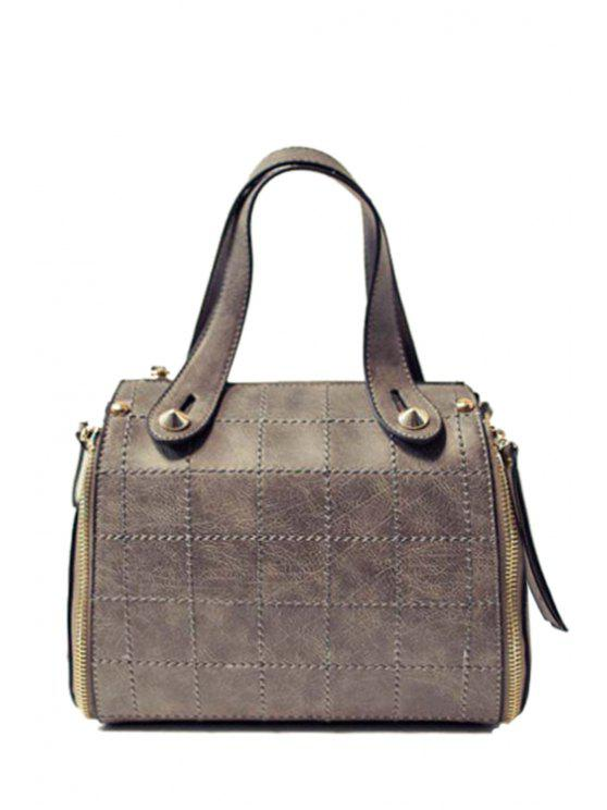 women Grid Stitching PU Leather Tote Bag - GRAY