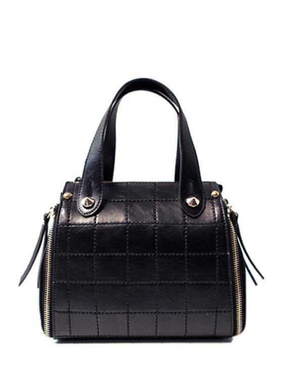 La bolsa de asas rejilla de costura de cuero de PU - Negro