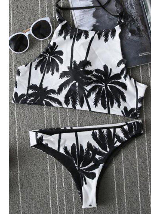best Print Spaghetti Straps Bikini Set - WHITE S