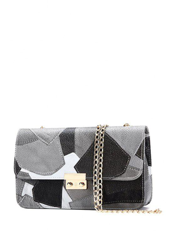 latest Color Block Hasp Chains Crossbody Bag - GRAY