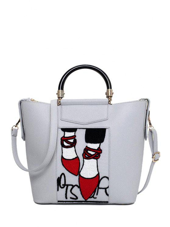 online Print Splicing PU Leather Tote Bag - LIGHT GRAY