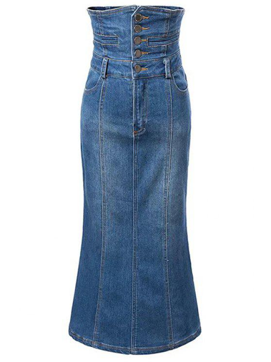 new Bleach Wash High Waist A-Line Mermaid Denim Skirt - BLUE L