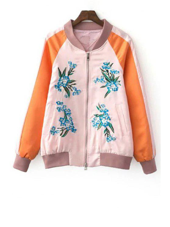 fashion Fitting Floral Embroidery Stand Neck Long Sleeve Jacket - PINK L