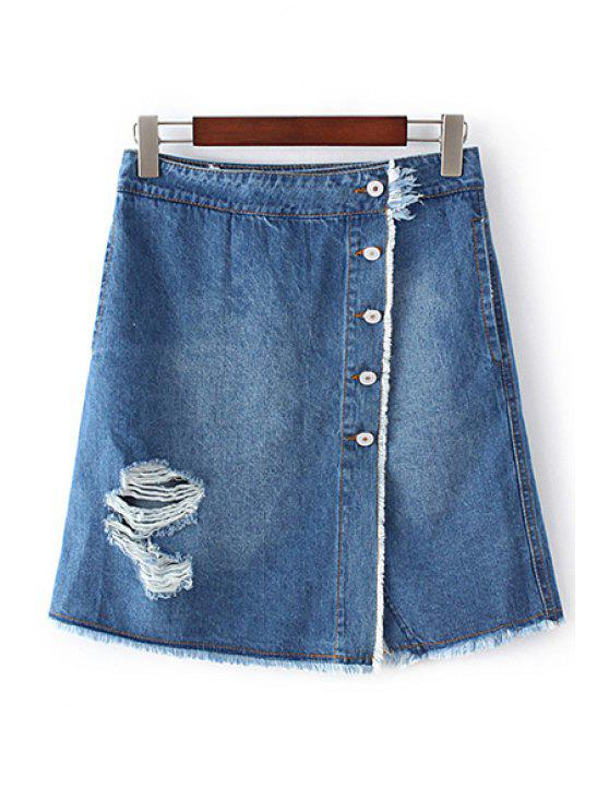 women's Ripped Single-Breasted High Waist A-Line Denim Skirt - BLUE L