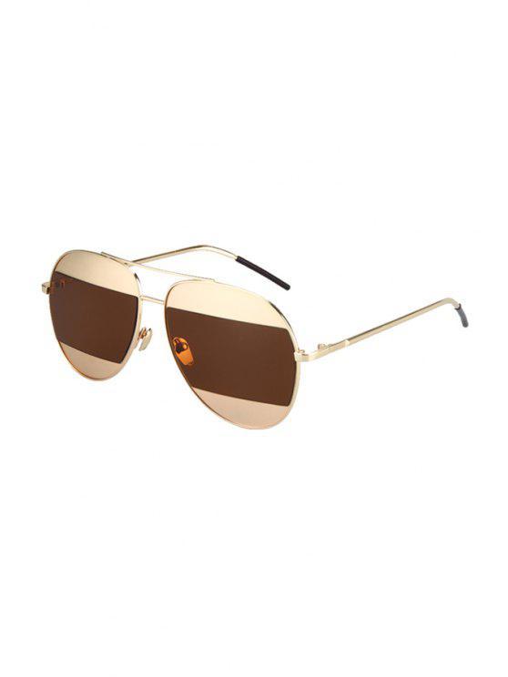 ladies Irregular Lenses Golden Alloy Sunglasses - TEA-COLORED