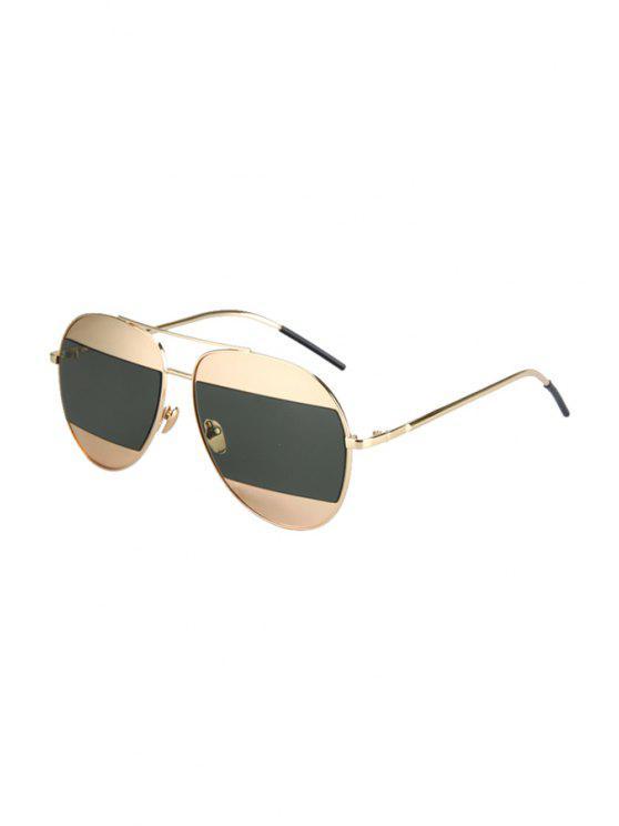 women's Irregular Lenses Golden Alloy Sunglasses - BLACKISH GREEN