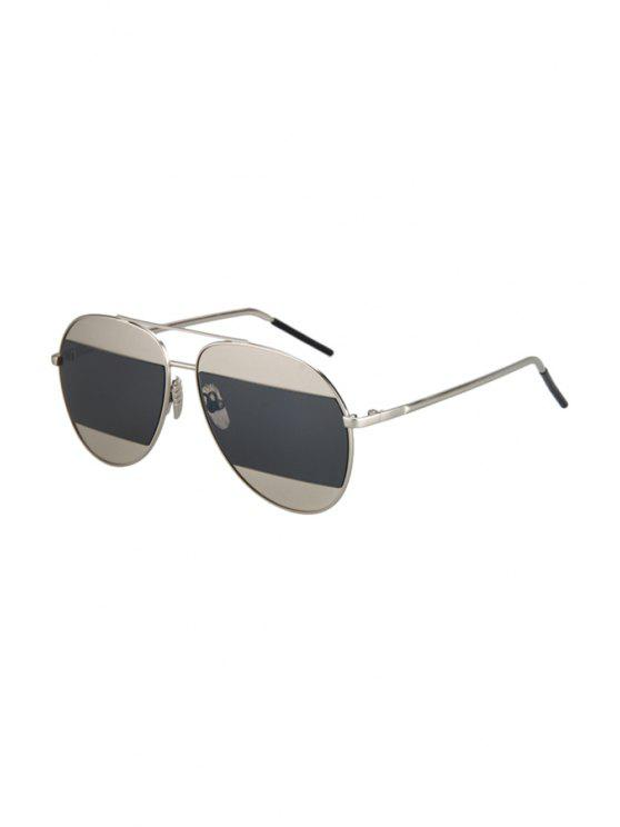 Las lentes irregulares aleación de plata de las gafas de sol de aviador - negro Gris