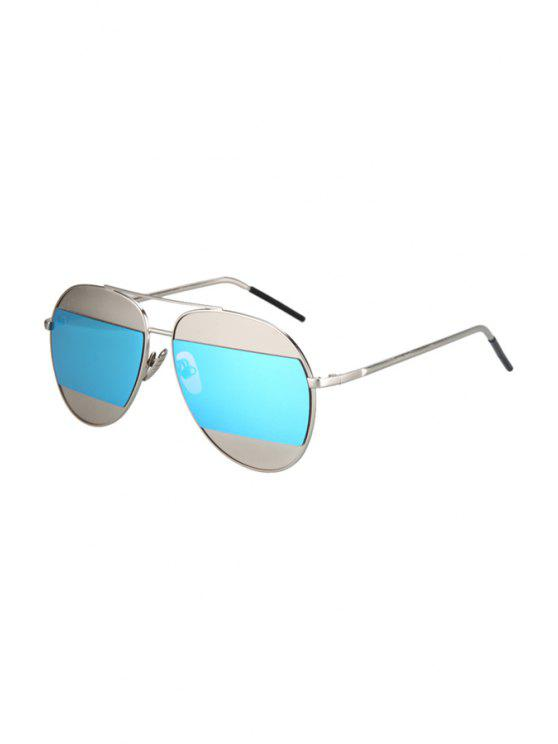 sale Irregular Lenses Silver Alloy Sunglasses - LIGHT BLUE
