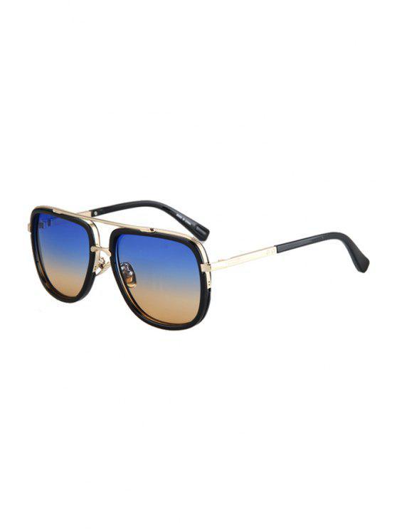Aleación de partido lentes de color gradual gafas de sol - Azul