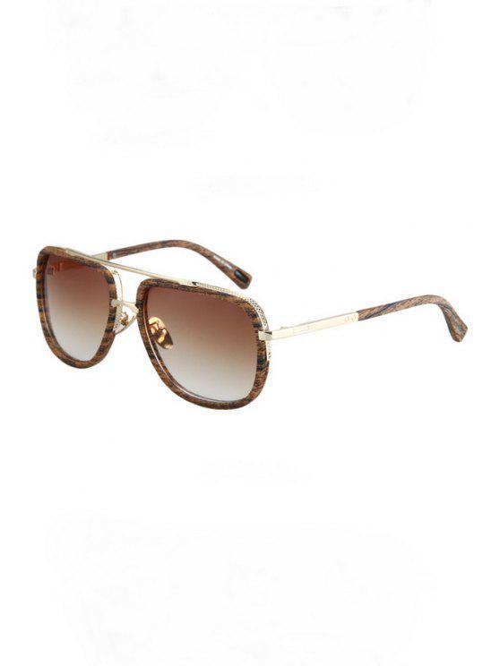 new Alloy Match Wooden Grain Sunglasses - LIGHT BROWN