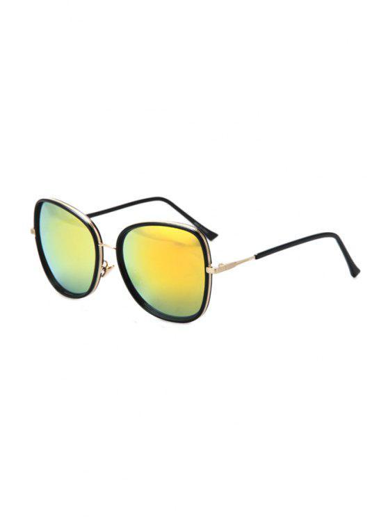 ladies Alloy Match Black Big Frame Sunglasses - GOLDEN