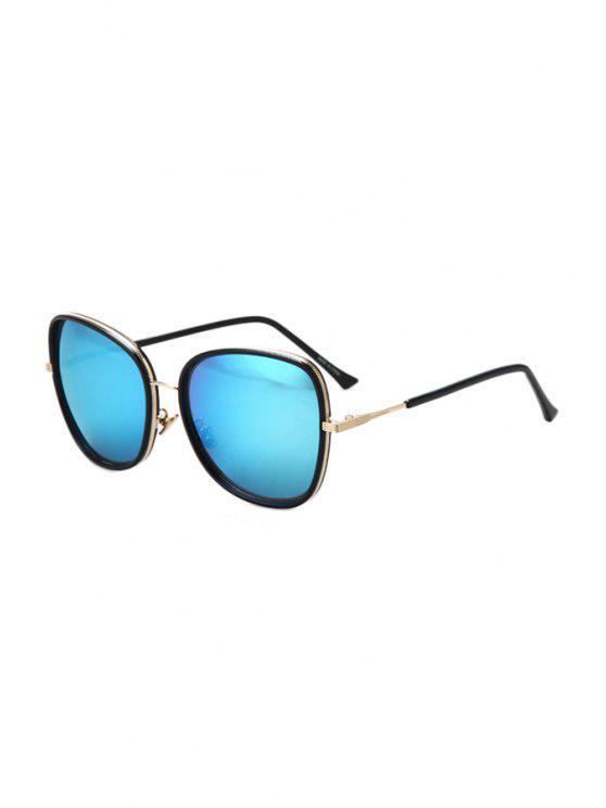 women's Alloy Match Black Big Frame Sunglasses - ICE BLUE