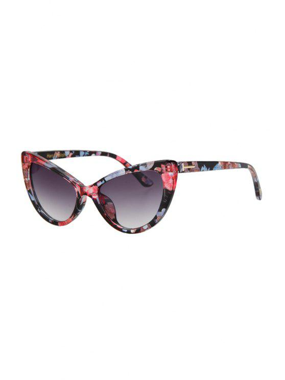 latest Letter T Shape Inlay Flower Sunglasses - RED