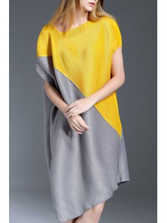 Asymmetric Color Block Dress - Yellow