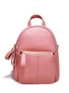 Solid Color Stitching Zips Satchel - Pink