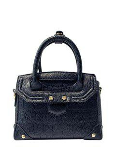 Crocodile Print Solid Colour Tote Bag - Black