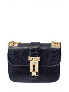 Chains Metallic Solid Color Crossbody Bag - Black