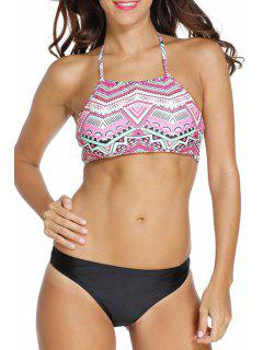 Underwire Geometric Pattern Halter Bikini Set - Black S