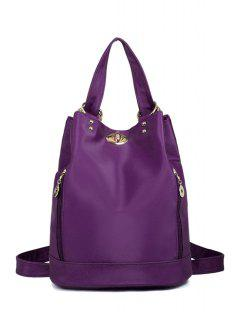 Metal Solid Color Nylon Satchel - Purple