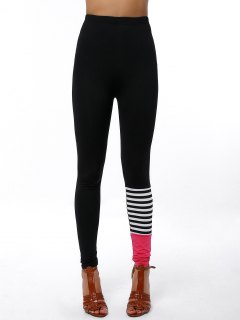 High Waisted Contrast Trim Tight Pants - Black M