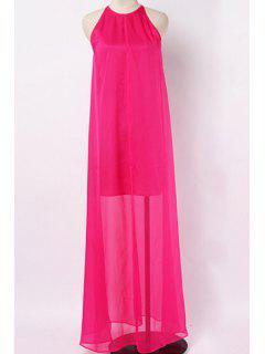Strappy Back High Slit Chiffon Dress - Rose S